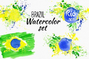 Watercolor Brazil set.Brazilian flag