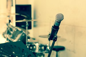 microphone in music studio