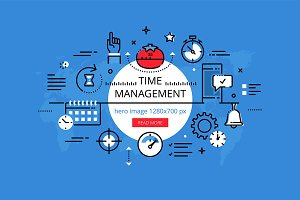Time Management hero banners set