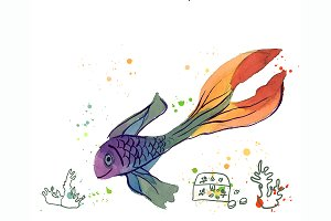 №165 Fish Watercolor
