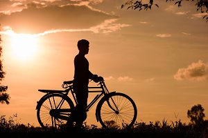 vintage bicycle with biker man