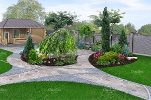 Poolside landscape design, 3d render