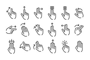 Hand Touch Gesture icon set. Vector
