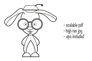 Smart rabbit illustration