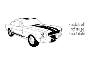 Ford Shelby 65 hand drawn