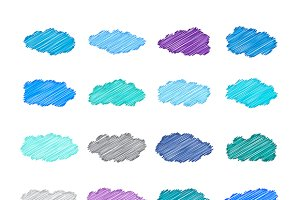 Sketched cumulus clouds set