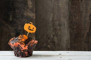 Halloween cupcake with pumpkin