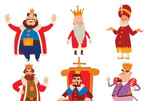 Kings cartoon vector set