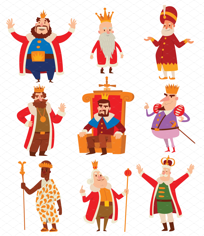Kings Cartoon Vector Set Illustrations Creative Market