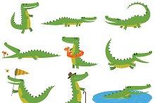 Crocodile character vector set