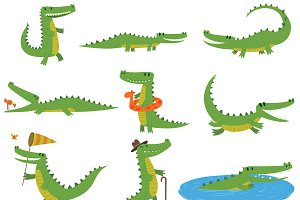 Crocodile character vector set