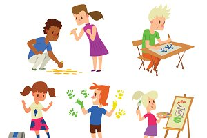 Artist kids children vector set
