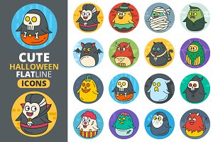 Cute Flat Halloween Characters Vol.2