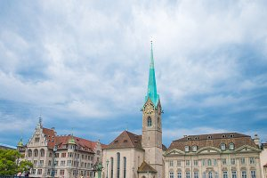 View of the historic city center of Zurich with famous Fraumunster Church and river Limmat, Switzerland