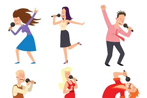 Singing people vector set