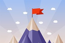 Success concept with mountain peak