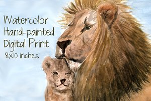 Watercolor Lion Father Print