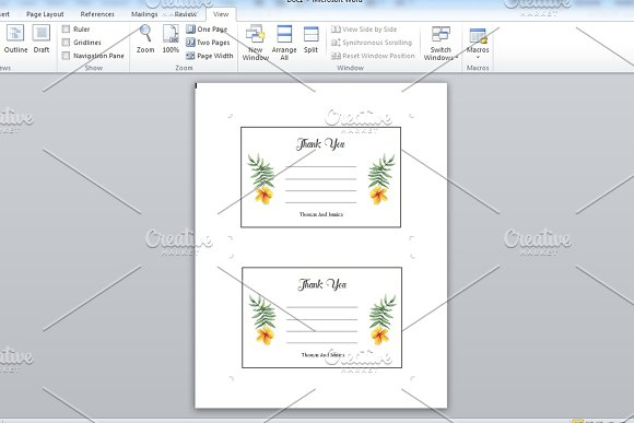 Wedding Thank You Card Template in Card Templates - product preview 1