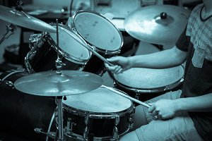 Drummer in the studio, music concept