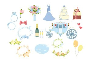 Set of colorful wedding elements
