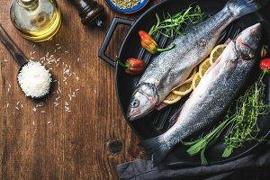 Ingredients for cookig fish dinner