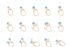 Lineart touchscreen gestures iconset