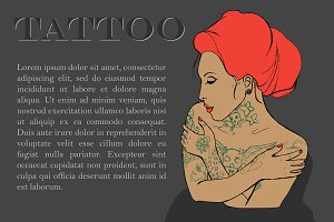 Tattoo. Tattooed girl. Vector