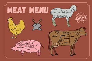 Meat menu. Cut scheme.