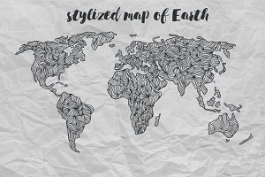 Stylized map of Earth tracery style