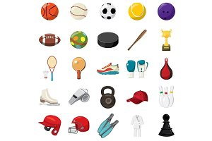 Sport game icons set, cartoon style