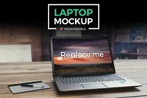 Laptop on Wood Table Mockup