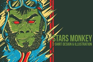 Stars Monkey Illustration