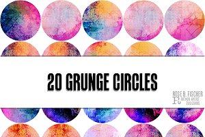 20 Grunge Circle Clipart