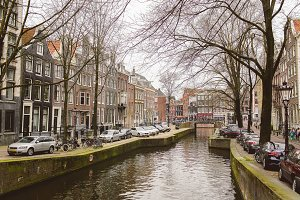 Looking down a canal in Amsterdam