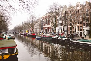 Boats in Amsterdam Canal