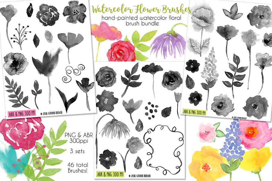 Watercolor Flower Brush Bundle