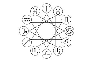 Linear Zodiac Signs Icons