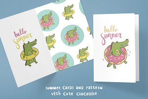 Cute Crocodile. Hello summer