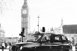 London - Taxi Cab Black and White
