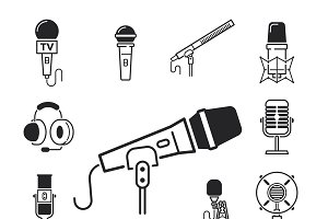 Microphones types vector icons