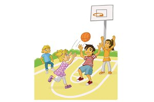 Children playing basket