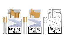 Cigarette pack icons. Vector