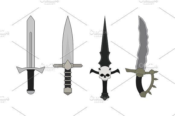 Daggers set. Vector - Illustrations