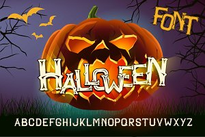 Halloween font with evil pumpkin