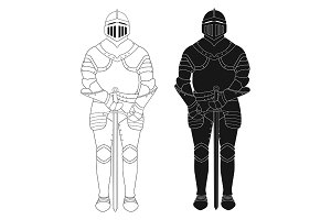 Knight armor statue. Vector
