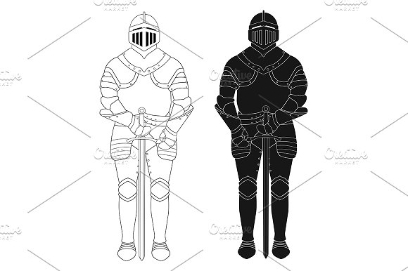 Knight armor statue. Vector - Illustrations