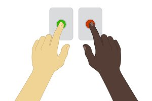 Hands pressing buttons. Vector