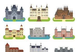 Castle cartoon vector set