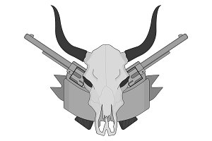 Wild west cow skull. Vector