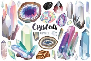 Crystals & Gems Clipart Bundle